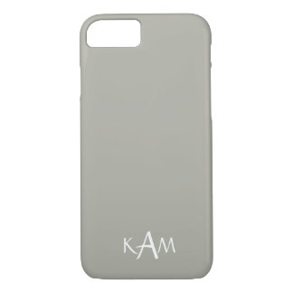Dove Grey and White Borders and Text iPhone 7 Case