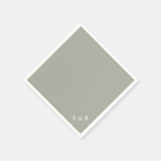 Dove Grey and White Borders and Text Paper Napkins