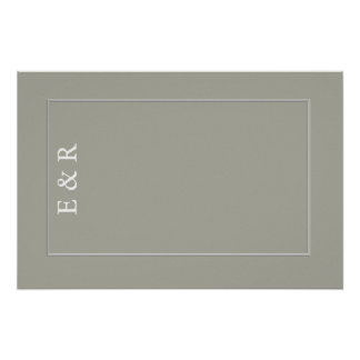 Dove Grey and White Borders and Text Poster
