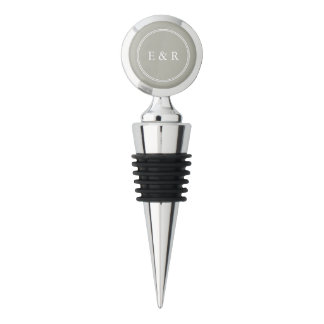 Dove Grey and White Borders and Text Wine Stopper