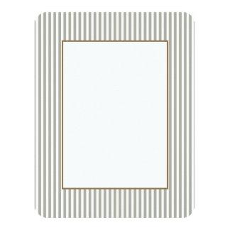 Dove Grey and White Cabana Stripes 11 Cm X 14 Cm Invitation Card