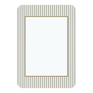 Dove Grey and White Cabana Stripes 3.5x5 Paper Invitation Card