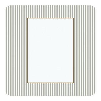 Dove Grey and White Cabana Stripes 13 Cm X 13 Cm Square Invitation Card