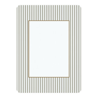 Dove Grey and White Cabana Stripes 5.5x7.5 Paper Invitation Card