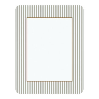 Dove Grey and White Cabana Stripes 4.25x5.5 Paper Invitation Card