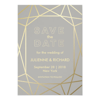 Dove Grey & Gold Geometric Wedding Save the Date Card