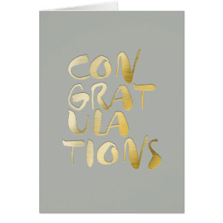 Dove Grey Gold Lettering Congratulations Greeting Card