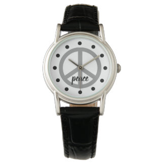 Dove Grey Peace Symbol Personalized Watch