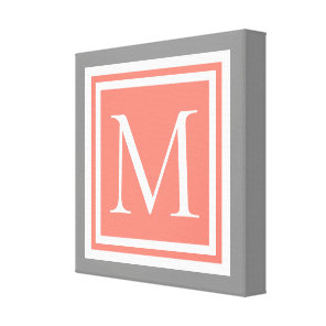 Dove Grey Pink Sand and White Frame Monogram Canvas Print