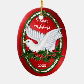 Dove & Holly Ornaments