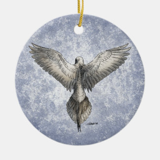 Dove in Flight Nature Drawing Double-Sided Ceramic Round Christmas Ornament