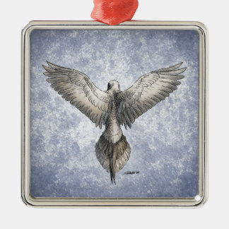 Dove in Flight Nature Drawing Silver-Colored Square Decoration