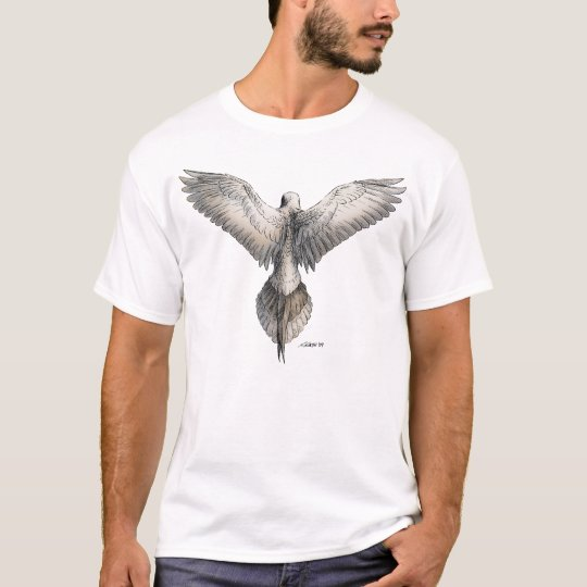 Dove in Flight Nature Drawing T-Shirt
