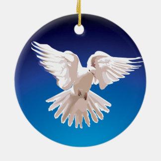 Dove in Flight Round Ceramic Decoration