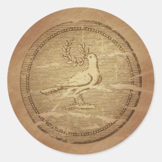 Dove & Laurel Branch Peace Greek Round Sticker