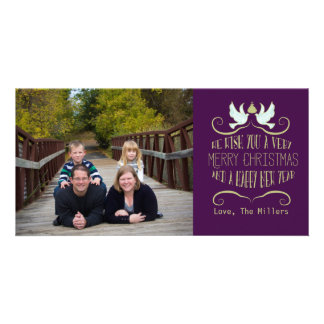 Dove Merry Christmas Happy New Year Purple Custom Photo Card