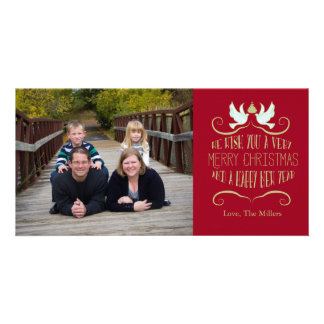 Dove Merry Christmas Happy New Year red Personalised Photo Card
