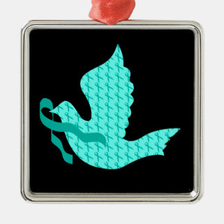 Dove of Hope Teal Ribbon - Ovarian Cancer Christmas Ornament