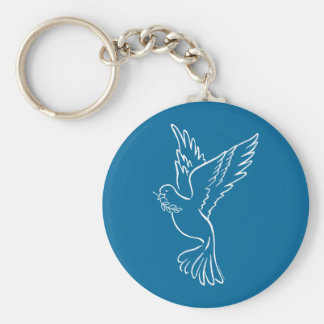 Dove of Peace Basic Round Button Key Ring
