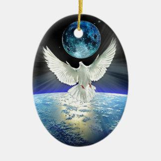 Dove of Peace over Planet Earth Sunrise Christmas Ornament