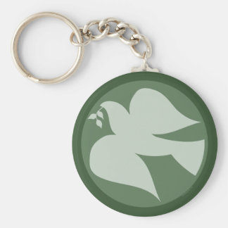 Dove of Peace Sign Key Ring