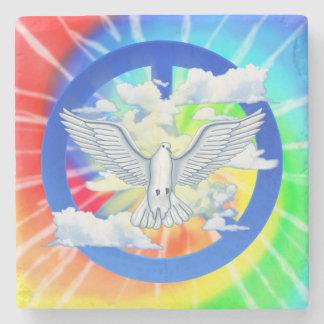 Dove Of Peace Tie Dye Stone Beverage Coaster