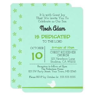 Baby dedication invitations announcements zazzle dove on branch blue dedication invitation stopboris Image collections