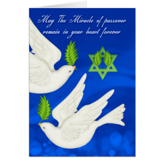 Dove Passover With Olive Leaf And Star Card