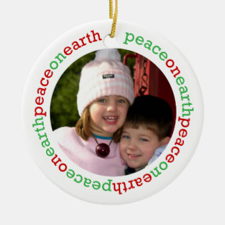 Dove peace on earth red green white custom photo christmas ornament