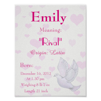 Name meaning keepsake gifts t shirts art posters other gift dove themed name meaning keepsake nursery poster negle Gallery
