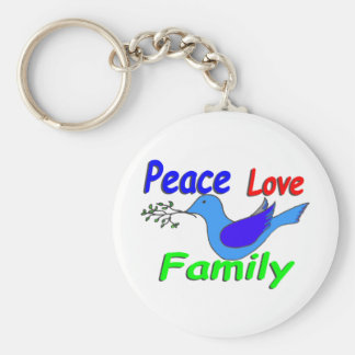 dove with branch PEACE LOVE FAMILY Key Ring