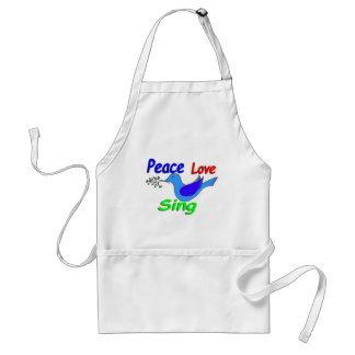 dove with branch PEACE LOVE SING Standard Apron