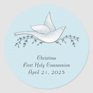 Dove with Branches, Blue, First Communion Round Sticker