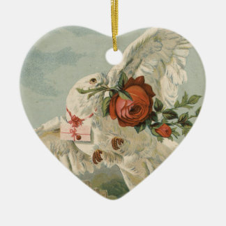 Dove with roses ceramic heart decoration