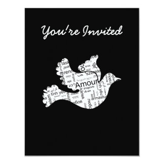 Dove word typography love in different languages 11 cm x 14 cm invitation card