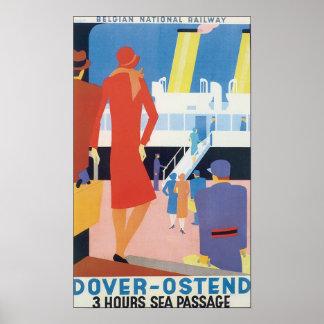 Dover Ostend  Belgian Railway Poster