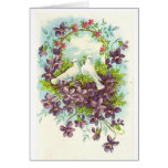 Doves and flowers greeting card