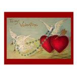 Doves And Hearts Vintage Valentine Postcard