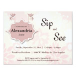 Doves And Pink Floral Sip And See Baby Invite 11cm X 14cm Invitation Card
