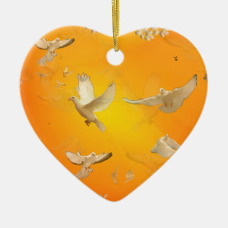 Doves Ceramic Heart Decoration