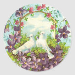 Doves & Flowers Classic Round Sticker