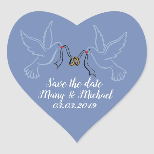 Doves Golden Rings Wedding Heart Stickers, Glossy Heart