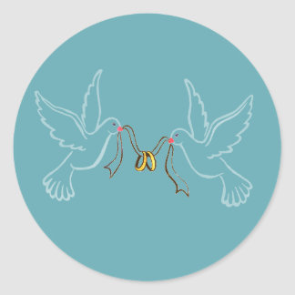 Doves Golden Rings Wedding  Round Sticker, Glossy Classic Round Sticker