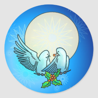 DOVES & HOLLY by SHARON SHARPE Classic Round Sticker