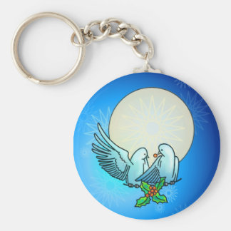 DOVES & HOLLY by SHARON SHARPE Basic Round Button Key Ring