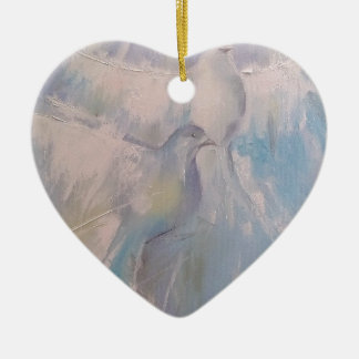 doves of Peace Ceramic Heart Decoration