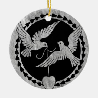 Doves on Brushed Metal Christmas Ornament