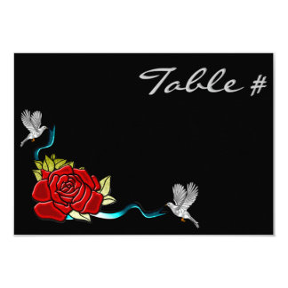 Doves & Roses (Table Numbers) 9 Cm X 13 Cm Invitation Card