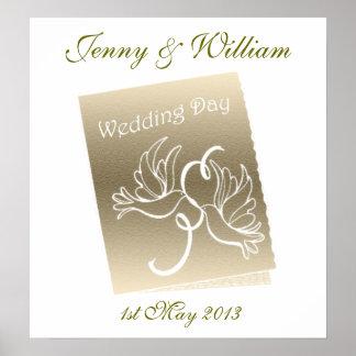 Doves Wedding Customisable Poster