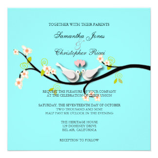 Doves Wedding Invitations diy blue background